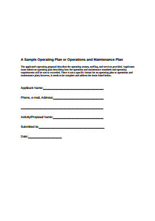 Sample Operations and Maintenance Plan