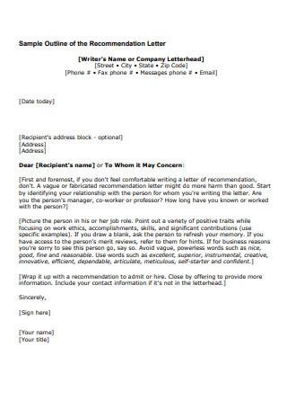 Sample Outline of Recommendation Letter