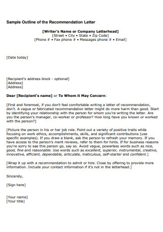 Sample Outline of the Recommendation Letter1