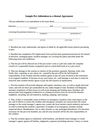 Sample Pet Addendum to a Rental Agreement