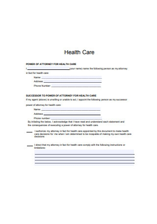 Sample Power of Attorney for Healthcare