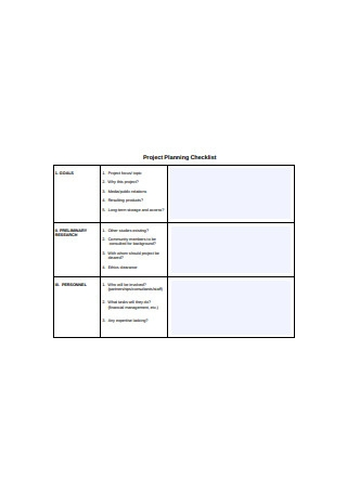 Sample Project Planning Checklist
