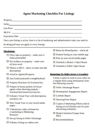 Sample Property Marketing Checklist