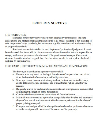 Sample Property Survey
