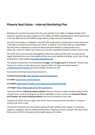 Sample Real Estate Marketing Plan
