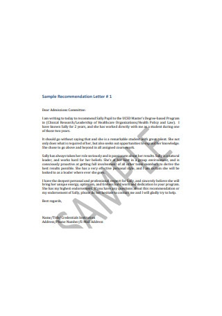 Sample Recommendation Letter of College