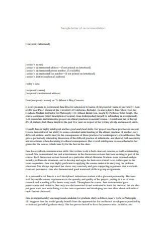 Recommendation Letter For University Admission from images.sample.net