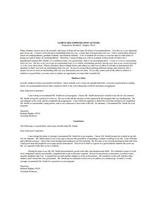 Sample Recommendation Letter