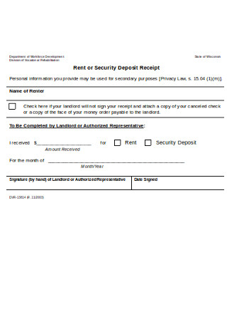 Sample Rent or Security Deposit Receipt