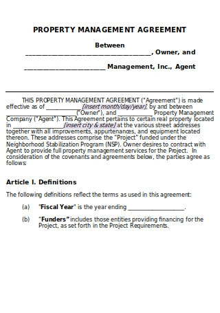 Sample Rental Property Management Agreement