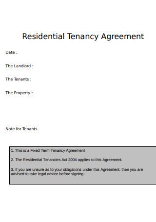 Sample Residential Tenancy Agreement