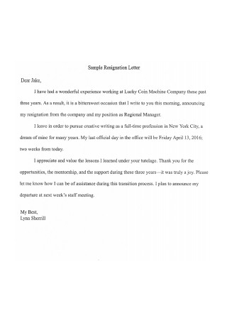 Sample Resignation Letter in PDF
