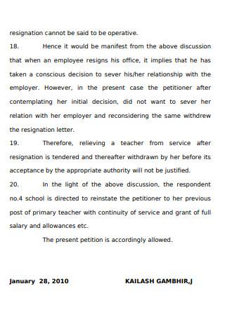 Sample Resignation Letter to Teacher
