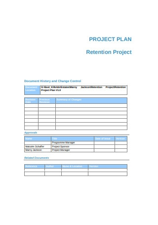 Sample Retention Project Plan