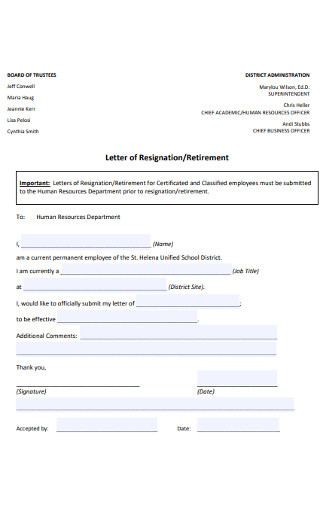 Sample Retirment Resignation Letter