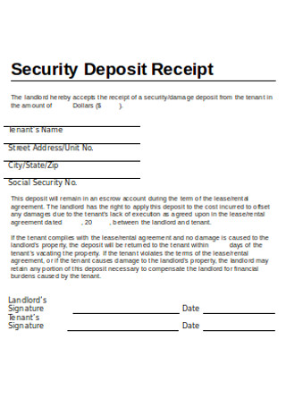 Sample Security Deposit Receipt in DOC