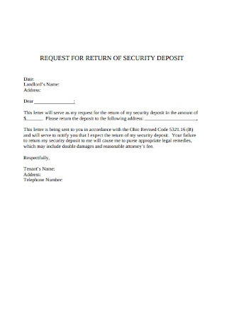Sample Security Deposit Return Request Letter