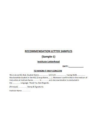 Sample Student Letter of Recommendation