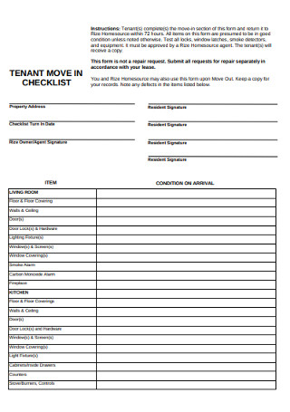Sample Tenant Move in Checklist