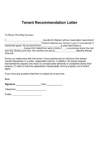 Sample Tenant Recommendation Letter