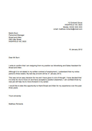 Formal Resignation Letter Sample With Notice Period from images.sample.net