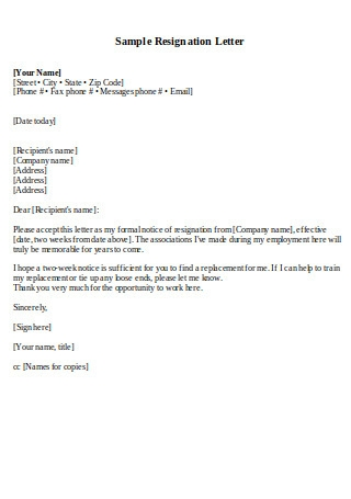 Sample Two Weeks Resignation Letter