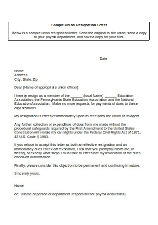 Sample Union Resignation Letter1