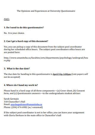 Sample University Questionnaire