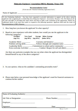 Scholarship Application Recommendation Letter