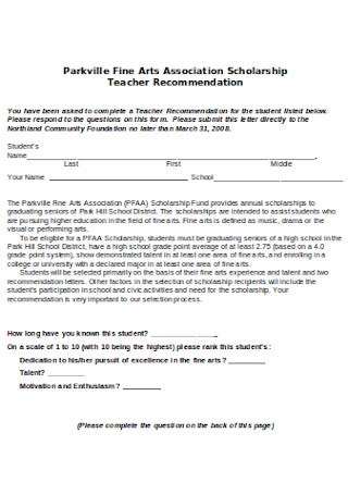 Scholarship Recommendation Letter Format