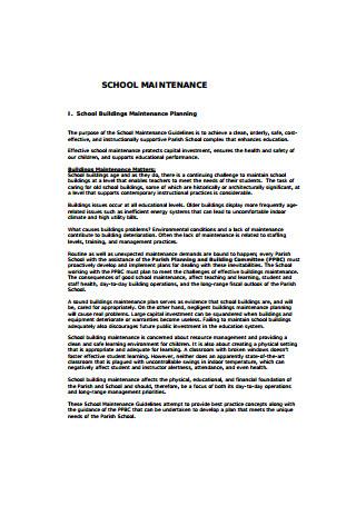 School Maintenance Plan