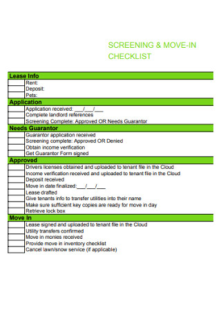 Screening Move in Checklist
