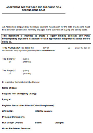 Second hand Boat Sale Agreement