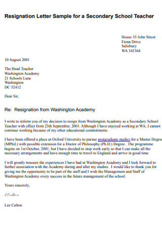 Secondary School Teacher Resignation Letter