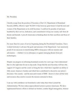 Secretary Resignation Letter Format