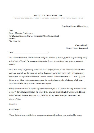 Security Deposit Demand Request Letter