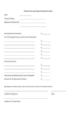 Security Deposit Return Form Letter