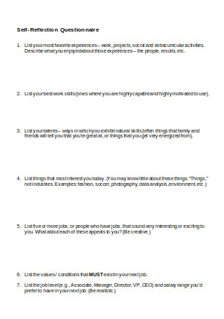 Self Reflection Questionnaire1