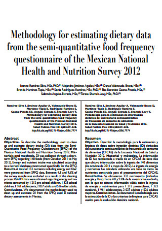 Semi Quantitative Food Frequency Questionnaire