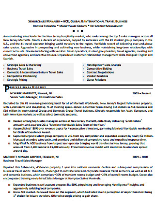 Senior Sales Manager Executive Cover Letter