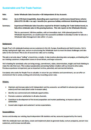Senior Wholesale Sales Executive Letter