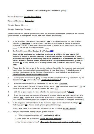 Service Provider Questionnaire