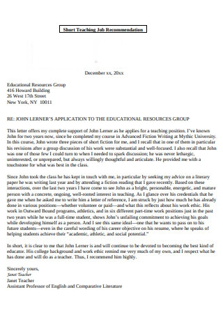 Short Teaching Job Recommendation Letter