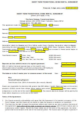 Short Term Home Rental Agreement