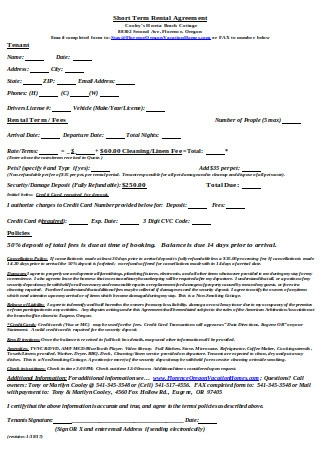 Short Term Rental Agreement Format