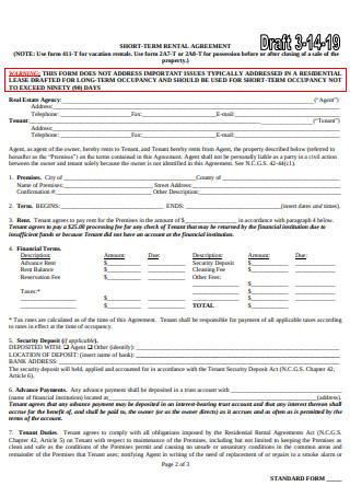 Short Term Vacation Rental Agreement