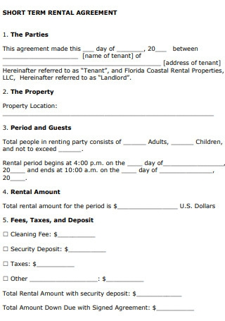 Short Term Vacation Rental Lease Agreement