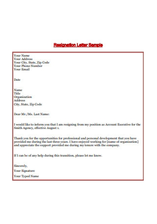 Simple 2 Weeks Notice Resignation Letter