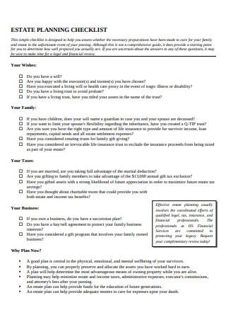 Simple Estate Planning Checklist Outline