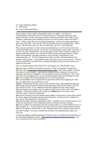 Simple Graduate School Recommendation Letter